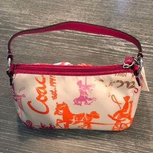 Coach Pink and Orange Horse Carriage Purse